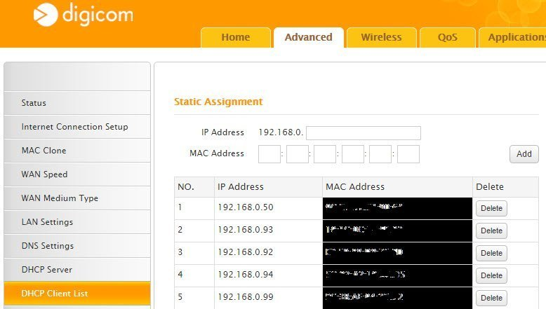 Router Digicom DHCP